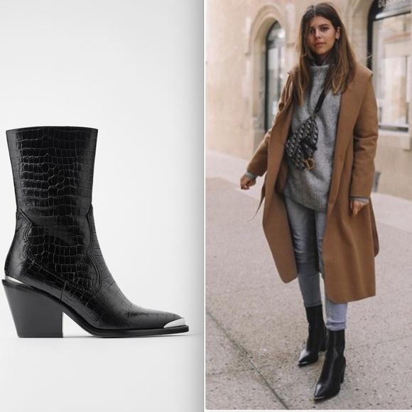 Nwt Zara Leather Heeled Cowboy Boots